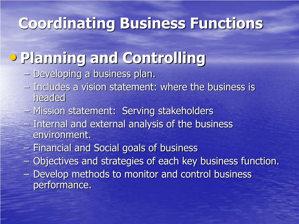 Coordinating Business Functions