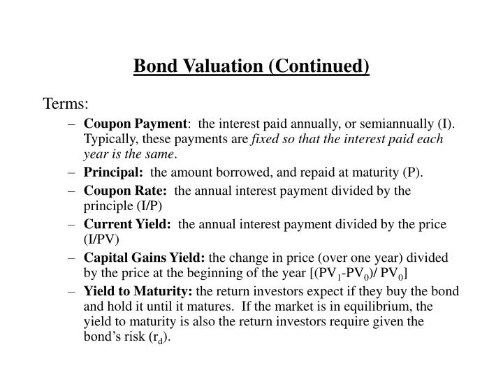 Bond valuation continued