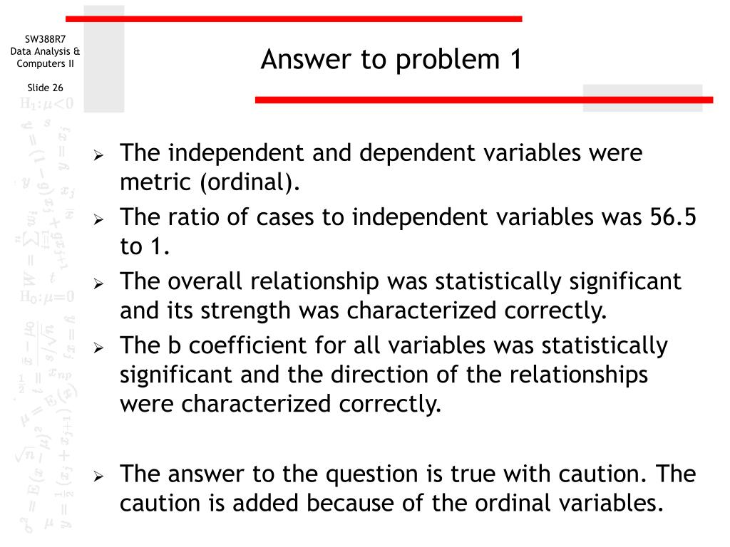 Answer to problem 1