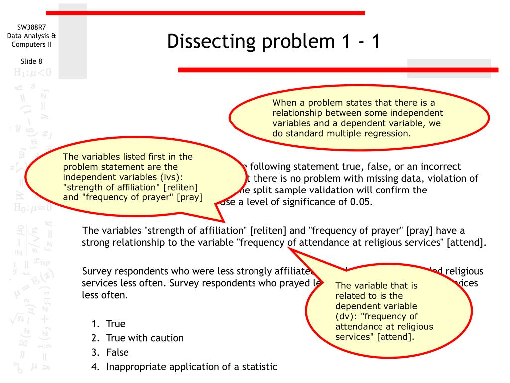 Dissecting problem 1 - 1