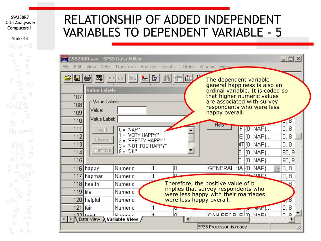 RELATIONSHIP OF ADDED INDEPENDENT VARIABLES TO DEPENDENT VARIABLE - 5