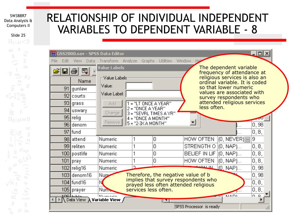 RELATIONSHIP OF INDIVIDUAL INDEPENDENT VARIABLES TO DEPENDENT VARIABLE - 8