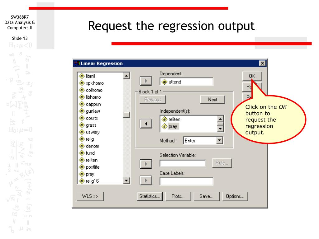 Request the regression output