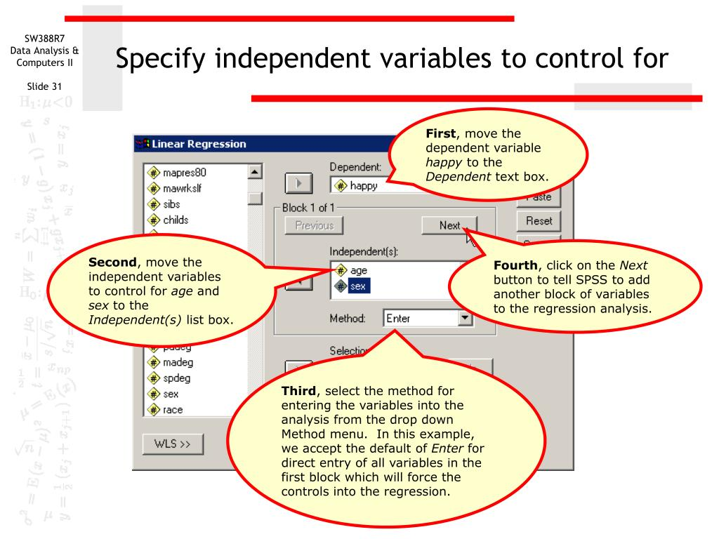 Specify independent variables to control for
