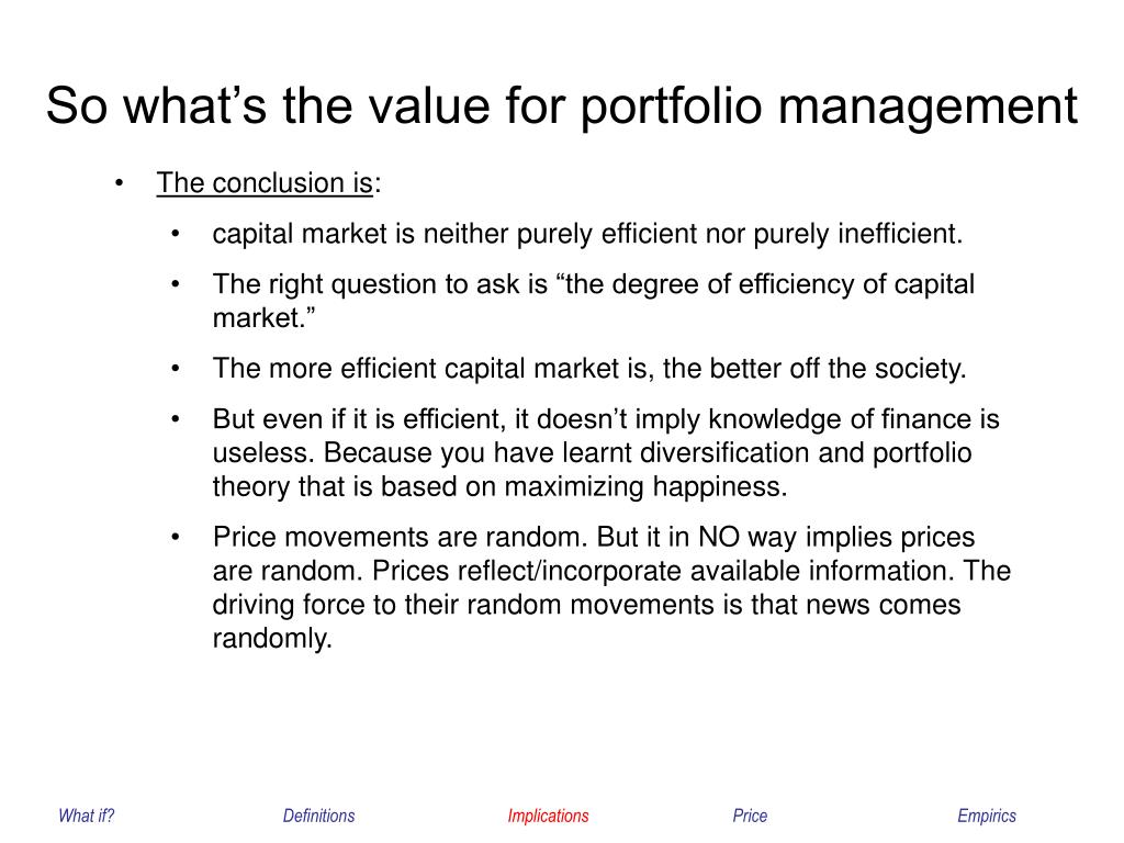 So what's the value for portfolio management
