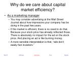 why do we care about capital market efficiency24