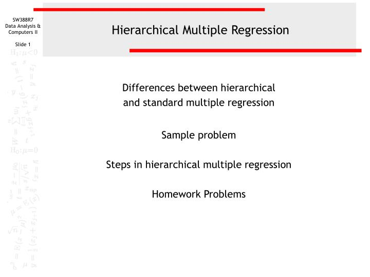 hierarchical multiple regression n.