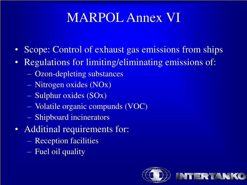 Scope: Control of exhaust gas emissions from ships
