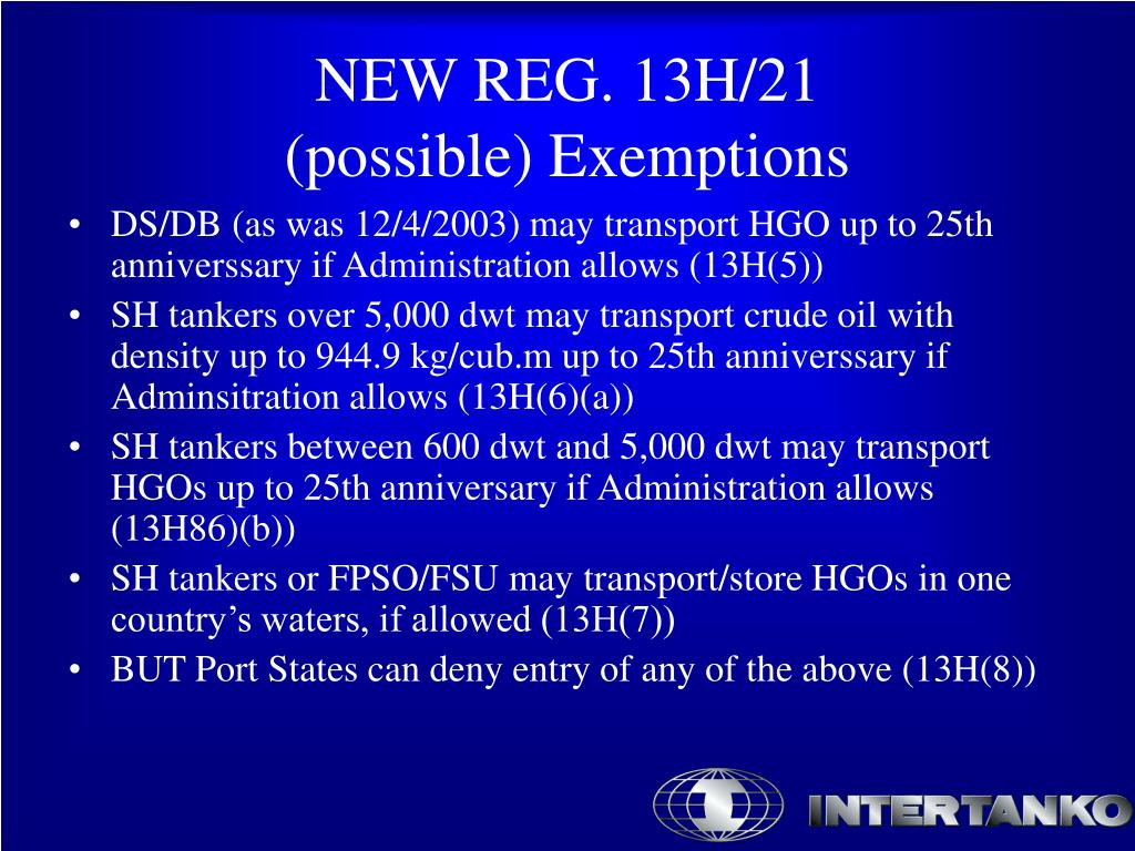 DS/DB (as was 12/4/2003) may transport HGO up to 25th anniverssary if Administration allows (13H(5))
