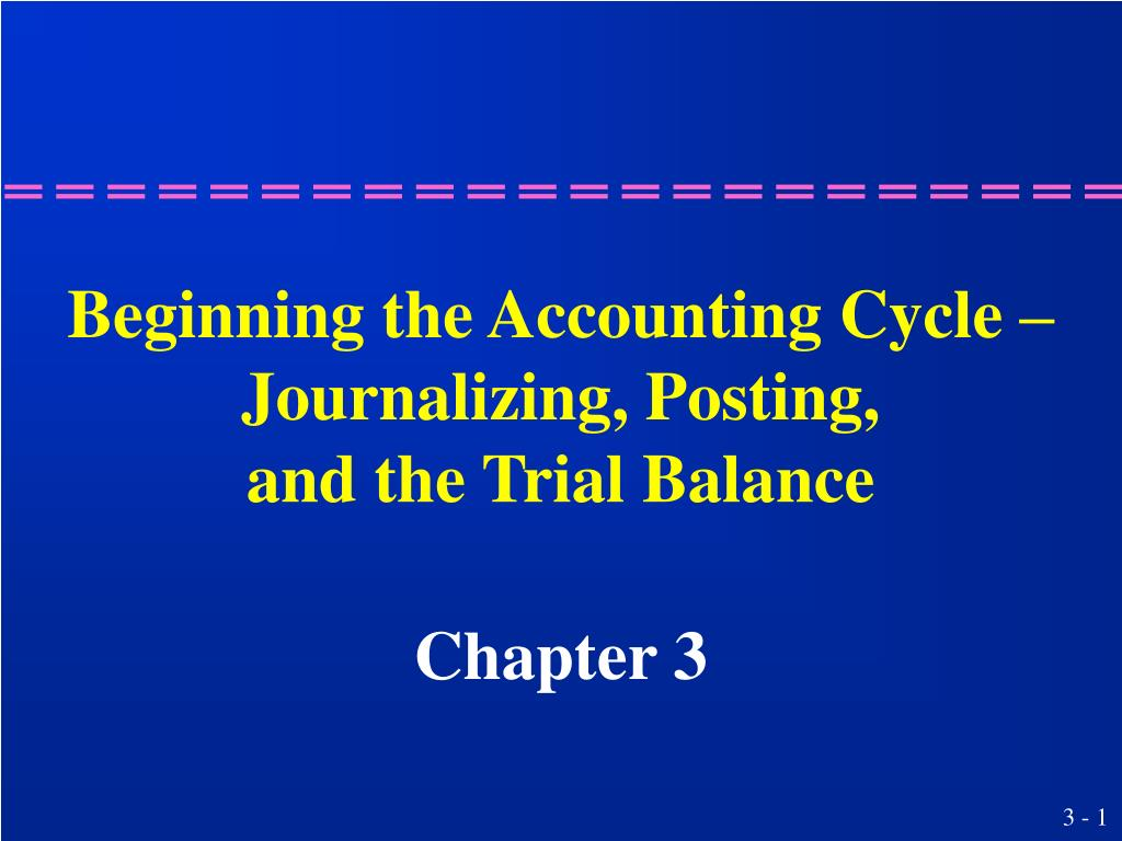 beginning the accounting cycle journalizing posting and the trial balance l.