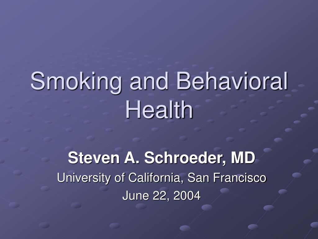 smoking and behavioral health l.
