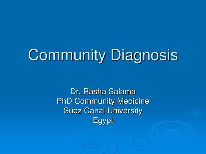 community diagnosis n.