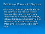 definition of community diagnosis