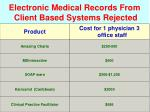 electronic medical records from client based systems rejected