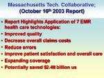 massachusetts tech collaborative october 16 th 2003 report