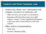 analysts and stock valuation cont