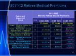 2011 12 retiree medical premiums