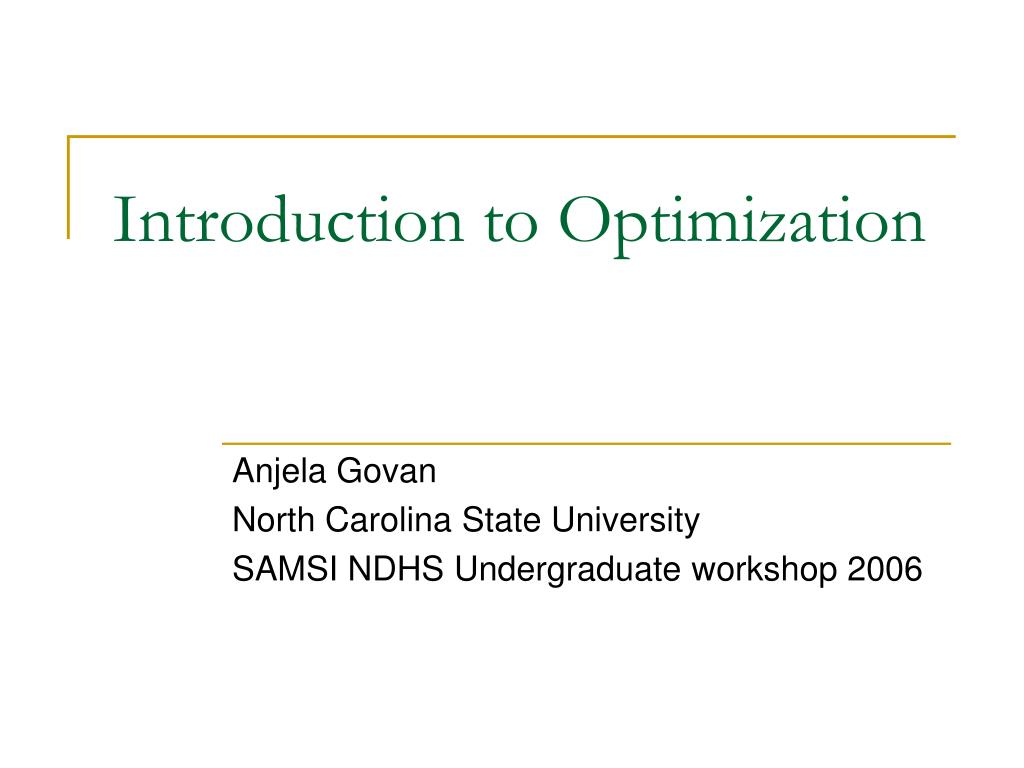 introduction to optimization l.