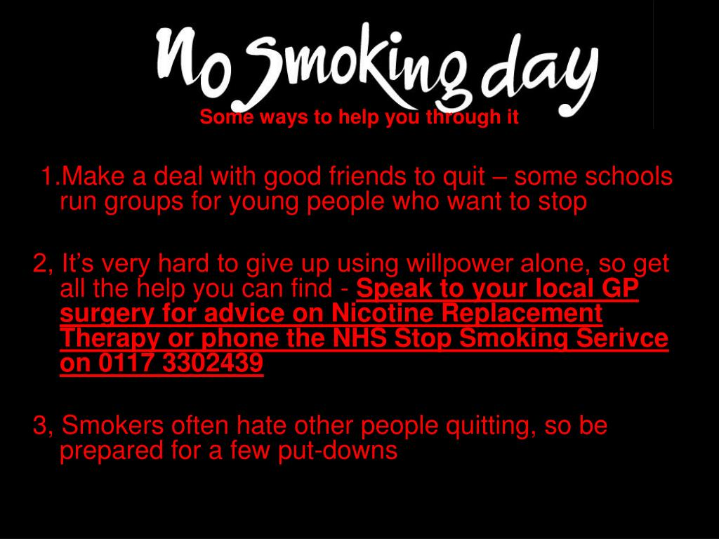 PPT - NO SMOKING DAY 2008 WEDNESDAY 12 th MARCH PowerPoint