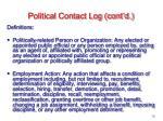 political contact log cont d