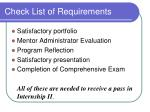 check list of requirements