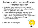 problems with the classification of mental disorder