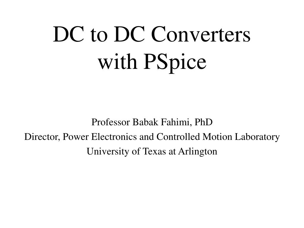 dc to dc converters with pspice l.