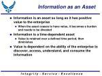 information as an asset