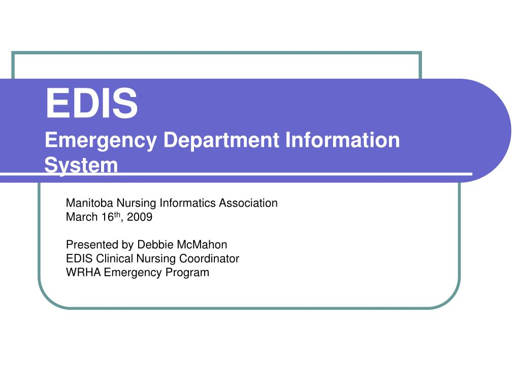 edis emergency department information system l.