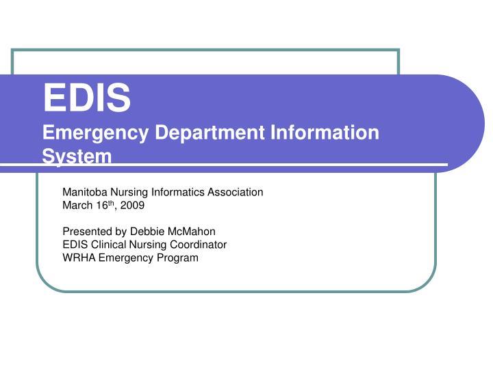 edis emergency department information system n.
