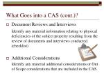 what goes into a cas cont17