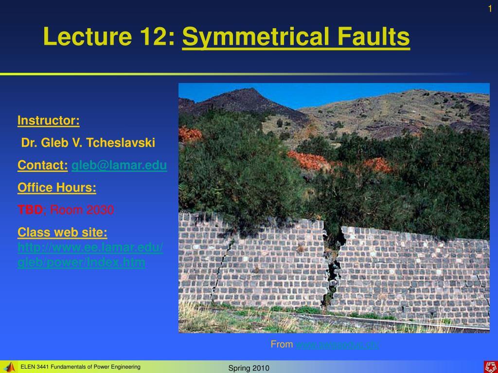 lecture 12 symmetrical faults l.
