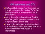 hw estimates and ci s