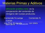 materias primas y aditivos100