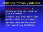materias primas y aditivos54