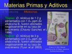 materias primas y aditivos61