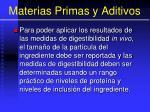 materias primas y aditivos96