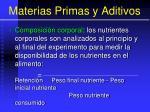 materias primas y aditivos97