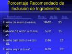 porcentaje recomendado de inclusi n de ingredientes119