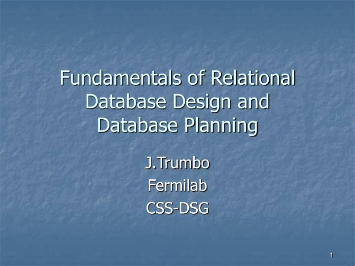 fundamentals of relational database design and database planning n.