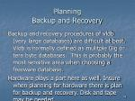 planning backup and recovery