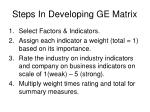 steps in developing ge matrix