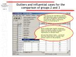 outliers and influential cases for the comparison of groups 2 and 3