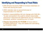 identifying and responding to fraud risks