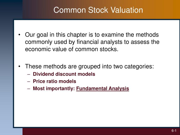 common stock valuation n.