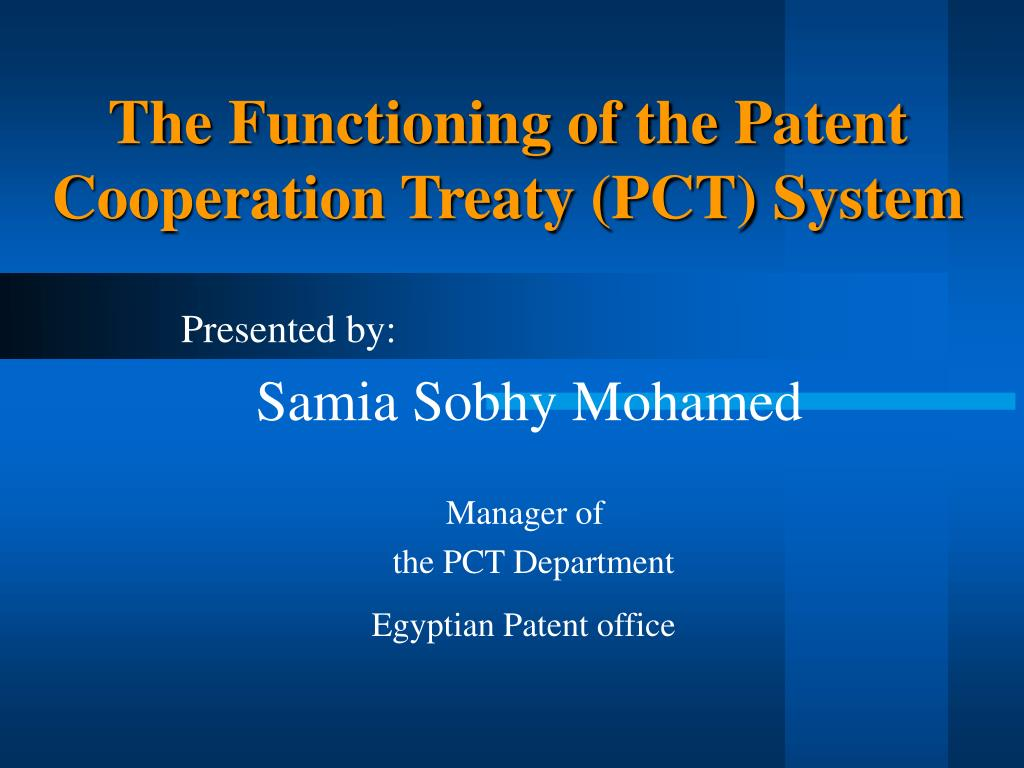 the functioning of the patent cooperation treaty pct system l.
