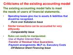criticisms of the existing accounting model