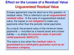 effect on the lessee of a residual value67