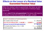effects on the lessor of a residual value