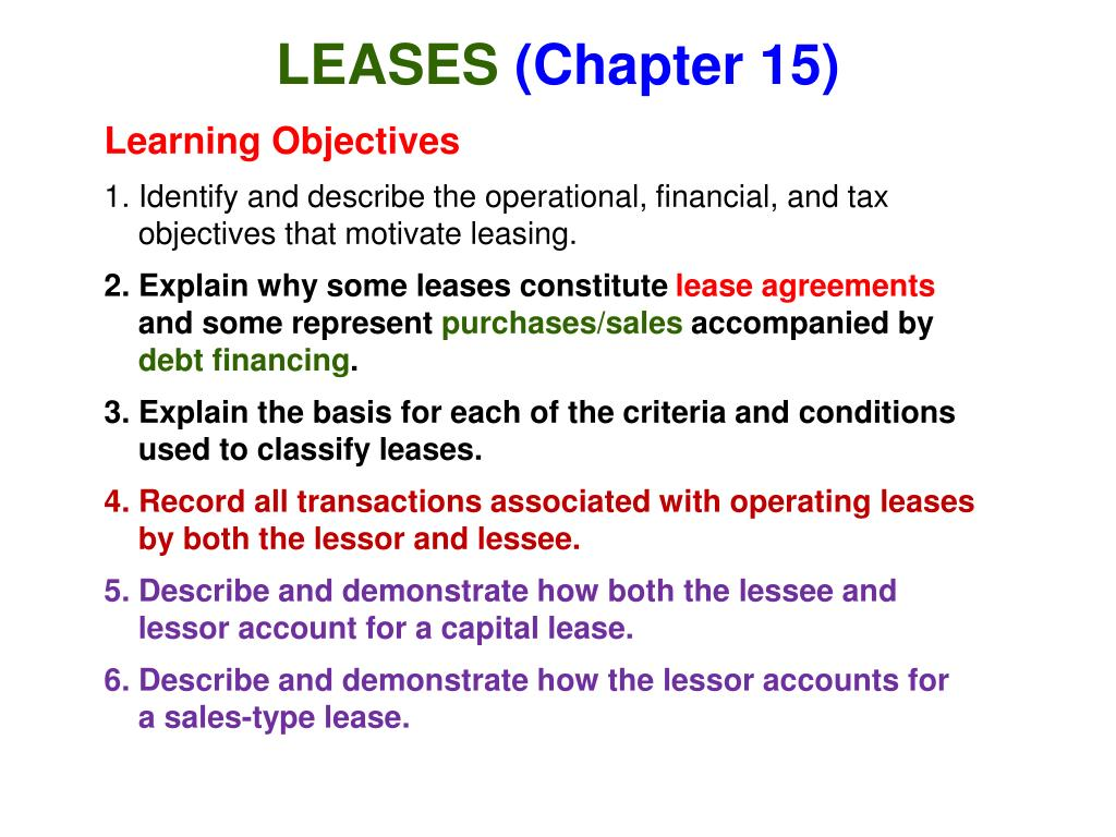 leases chapter 15 l.